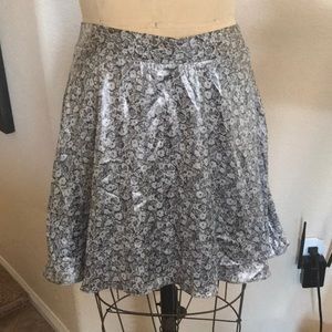 NWT Urban Outfitters Gray Floral Satin Skirt M